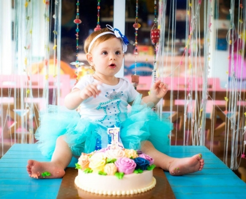 Little Girl Birthday with cake