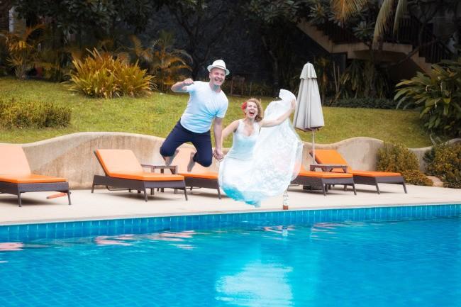 Pool Wedding photography