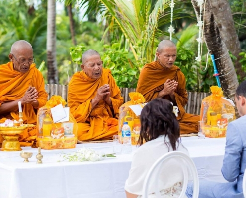 Buddist monks ceremony for wedding