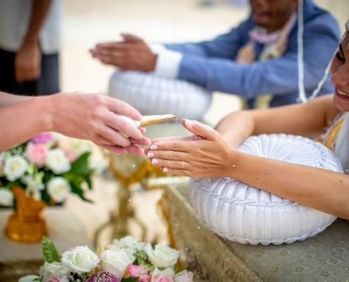 French Wedding with Thai Ritual