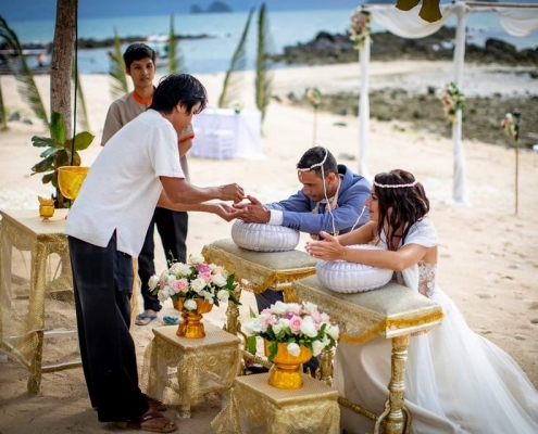 French Couple Wedding with Thai Ritual