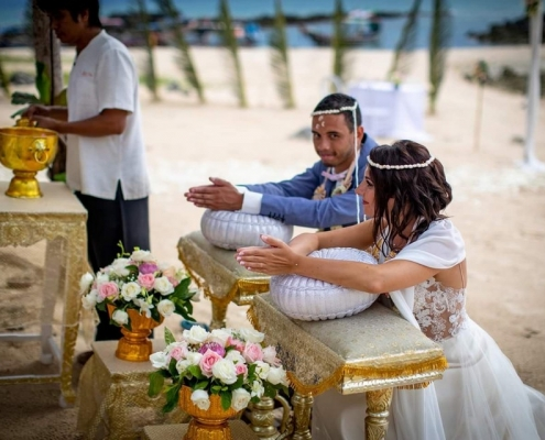 French Wedding with Thai Ceremony